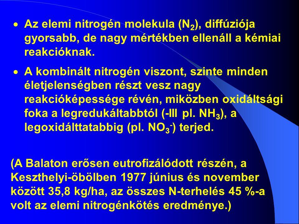  Az elemi nitrogén molekula (N 2 ), diffúziója gyorsabb, de nagy mértékben ellenáll a kémiai reakcióknak.