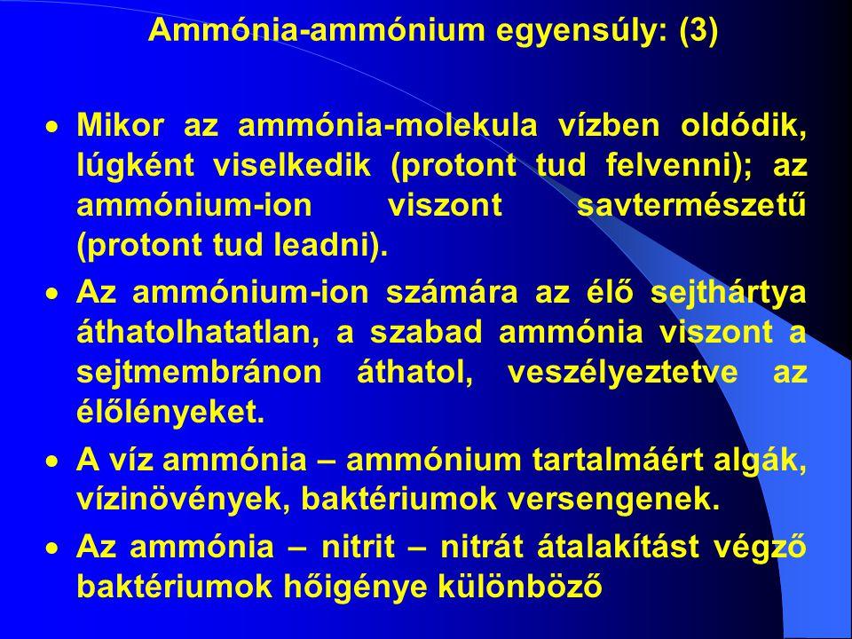 Ammónia-ammónium egyensúly: (3)  Mikor az ammónia-molekula vízben oldódik, lúgként viselkedik (protont tud felvenni); az ammónium-ion viszont savtermészetű (protont tud leadni).