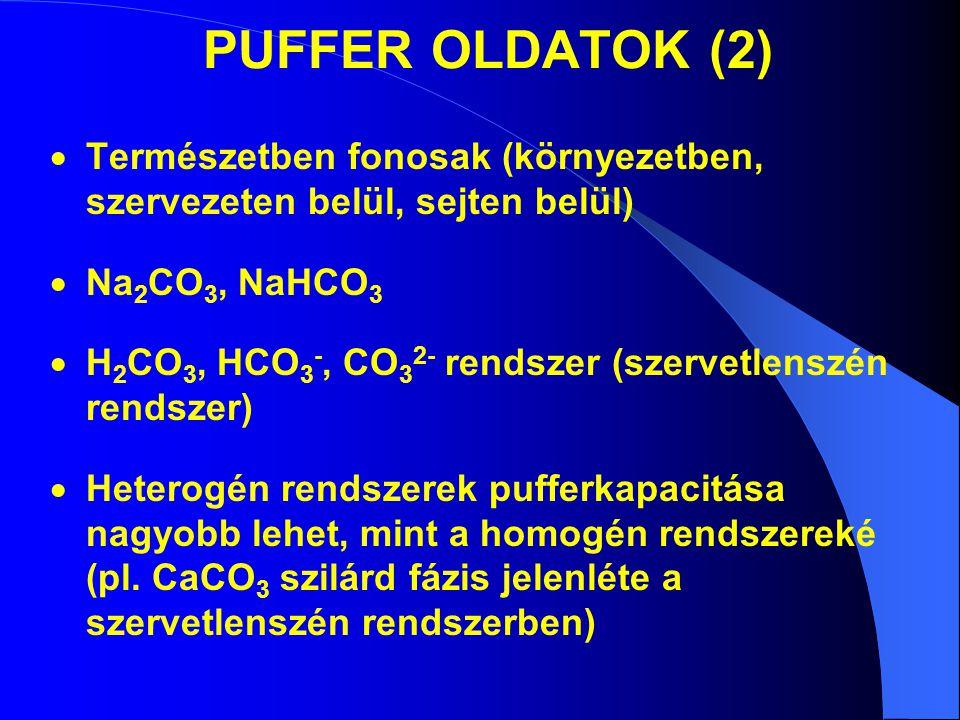 PUFFER OLDATOK (2)  Természetben fonosak (környezetben, szervezeten belül, sejten belül)  Na 2 CO 3, NaHCO 3  H 2 CO 3, HCO 3 -, CO 3 2- rendszer (szervetlenszén rendszer)  Heterogén rendszerek pufferkapacitása nagyobb lehet, mint a homogén rendszereké (pl.
