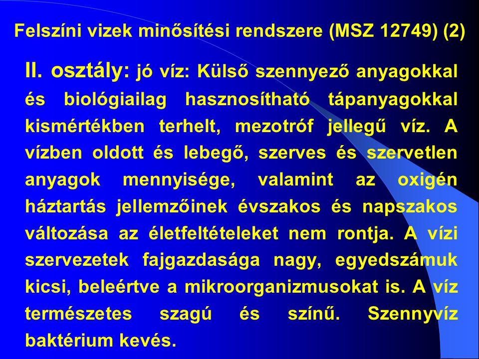 Felszíni vizek minősítési rendszere (MSZ 12749) (2) II.