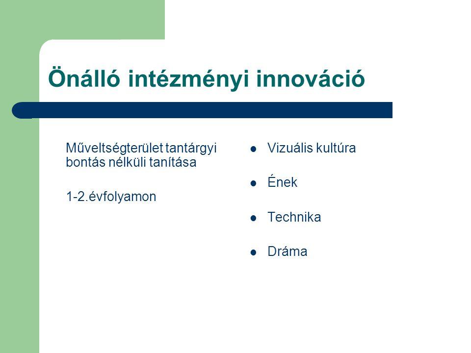 Önálló intézményi innováció Műveltségterület tantárgyi bontás nélküli tanítása 1-2.évfolyamon Vizuális kultúra Ének Technika Dráma