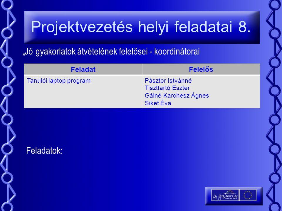 """Projektvezetés helyi feladatai 8. """"Jó gyakorlatok átvételének felelősei - koordinátorai FeladatFelelős Tanulói laptop programPásztor Istvánné Tiszttar"""