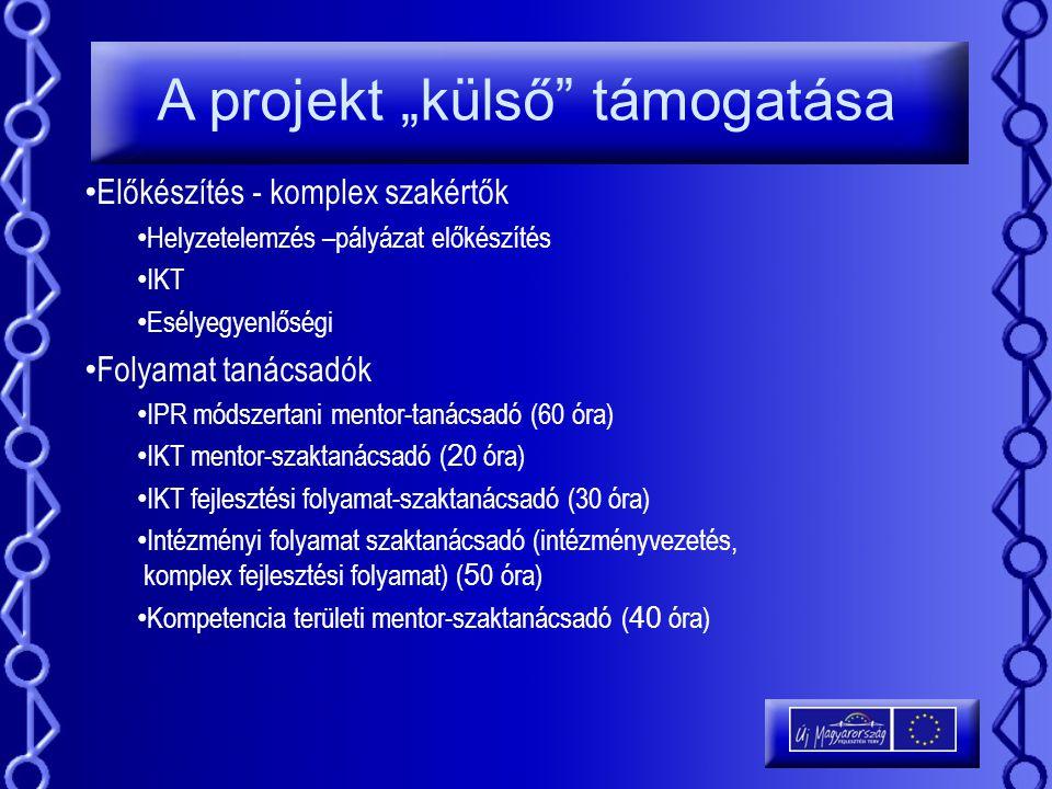 """A projekt """"külső"""" támogatása Előkészítés - komplex szakértők Helyzetelemzés –pályázat előkészítés IKT Esélyegyenlőségi Folyamat tanácsadók IPR módszer"""