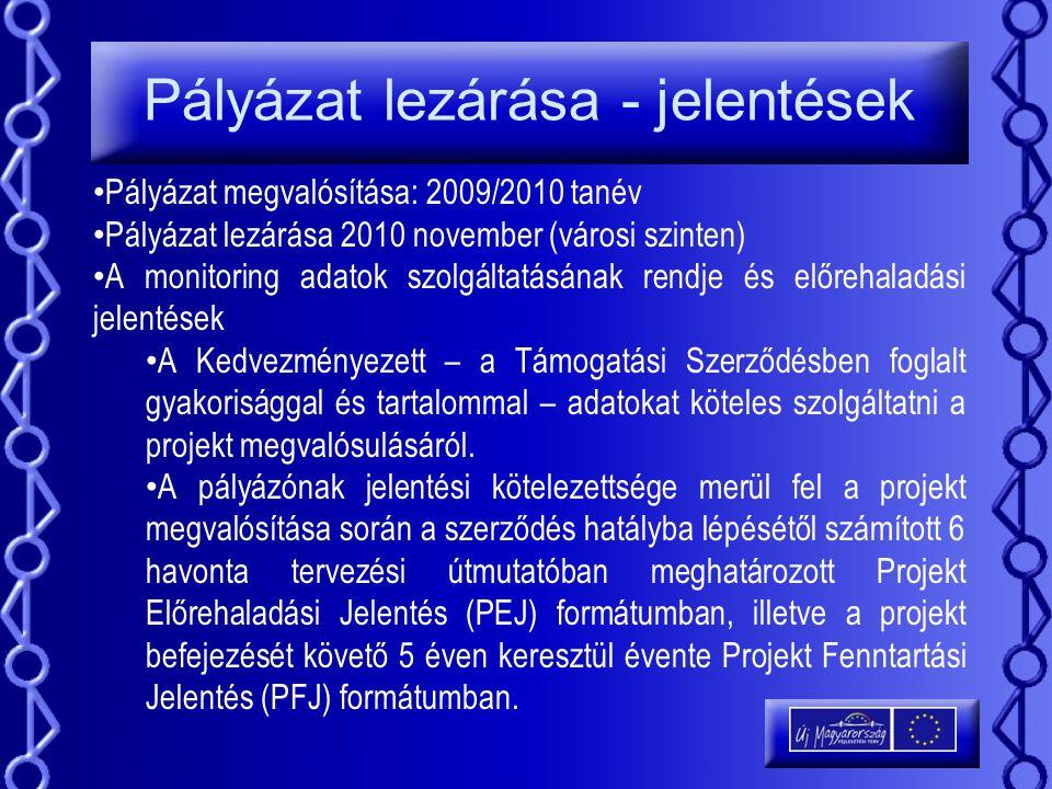 Pályázat lezárása - jelentések Pályázat megvalósítása: 2009/2010 tanév Pályázat lezárása 2010 november (városi szinten) A monitoring adatok szolgáltat