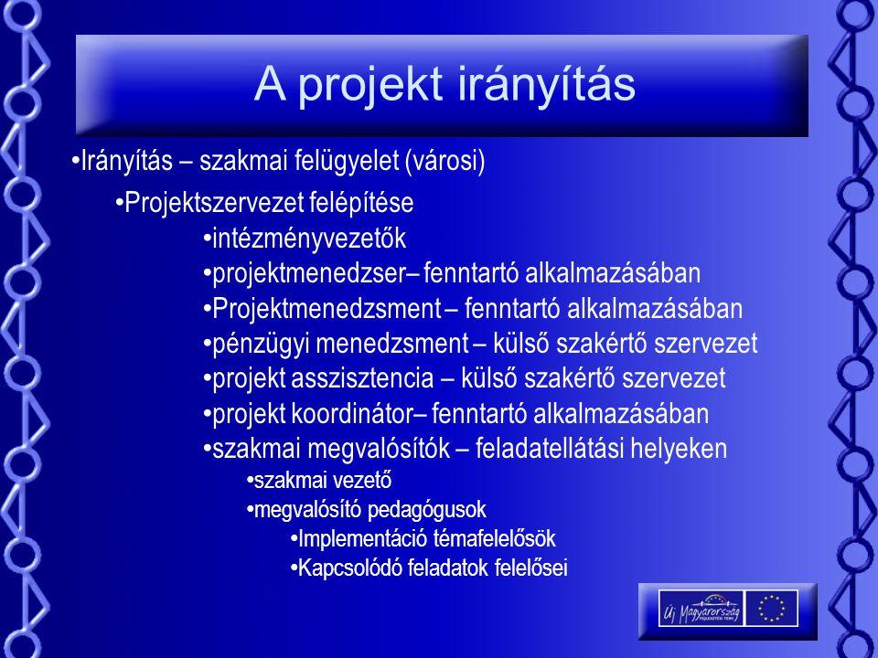 A projekt irányítás Irányítás – szakmai felügyelet (városi) Projektszervezet felépítése intézményvezetők projektmenedzser– fenntartó alkalmazásában Pr