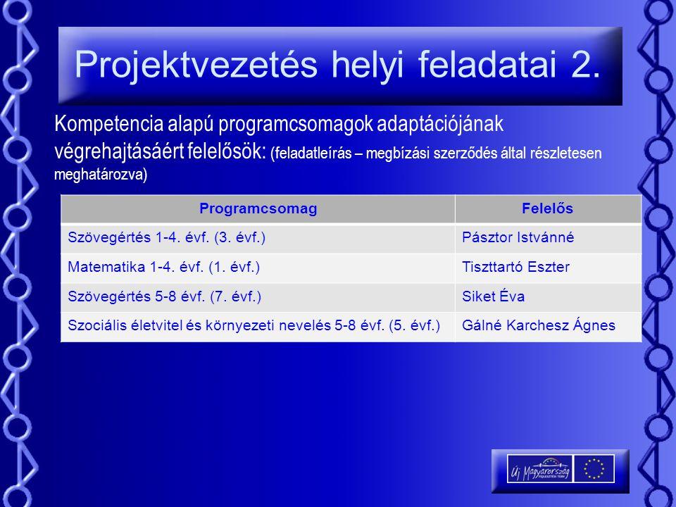 Projektvezetés helyi feladatai 2. Kompetencia alapú programcsomagok adaptációjának végrehajtásáért felelősök: (feladatleírás – megbízási szerződés ált