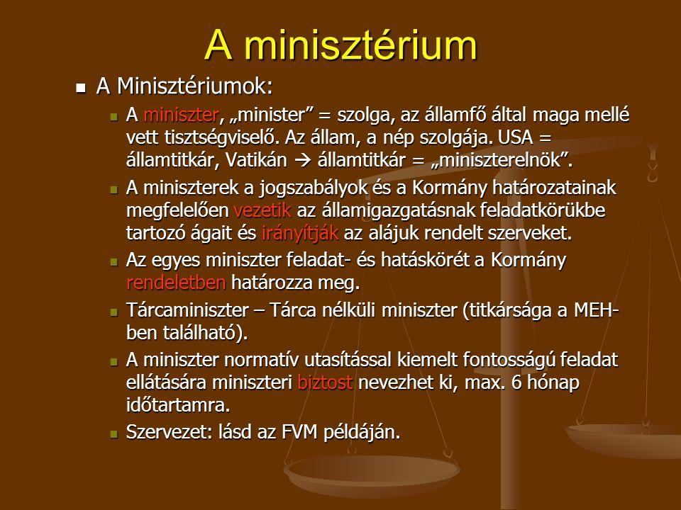 """A minisztérium A Minisztériumok: A Minisztériumok: A miniszter, """"minister = szolga, az államfő által maga mellé vett tisztségviselő."""