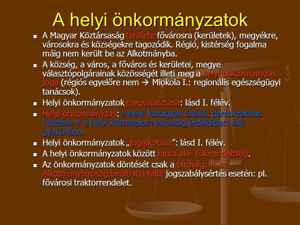 A helyi önkormányzatok A Magyar Köztársaság területe fővárosra (kerületek), megyékre, városokra és községekre tagozódik.