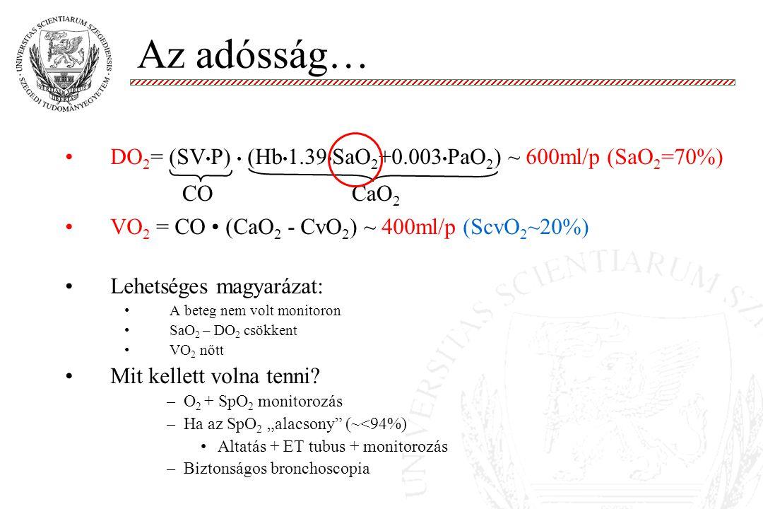Az adósság… DO 2 = (SV P) (Hb 1.39 SaO 2 +0.003 PaO 2 ) ~ 600ml/p (SaO 2 =70%) VO 2 = CO (CaO 2 - CvO 2 ) ~ 400ml/p (ScvO 2 ~20%) Lehetséges magyarázat: A beteg nem volt monitoron SaO 2 – DO 2 csökkent VO 2 nőtt Mit kellett volna tenni.