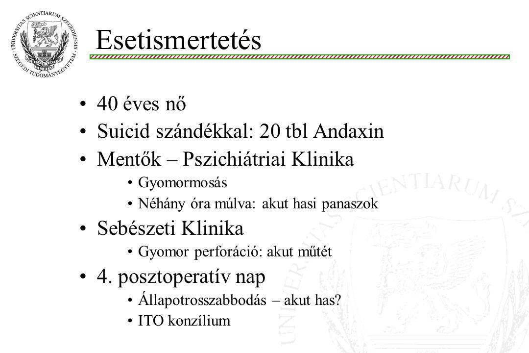 40 éves nő Suicid szándékkal: 20 tbl Andaxin Mentők – Pszichiátriai Klinika Gyomormosás Néhány óra múlva: akut hasi panaszok Sebészeti Klinika Gyomor perforáció: akut műtét 4.