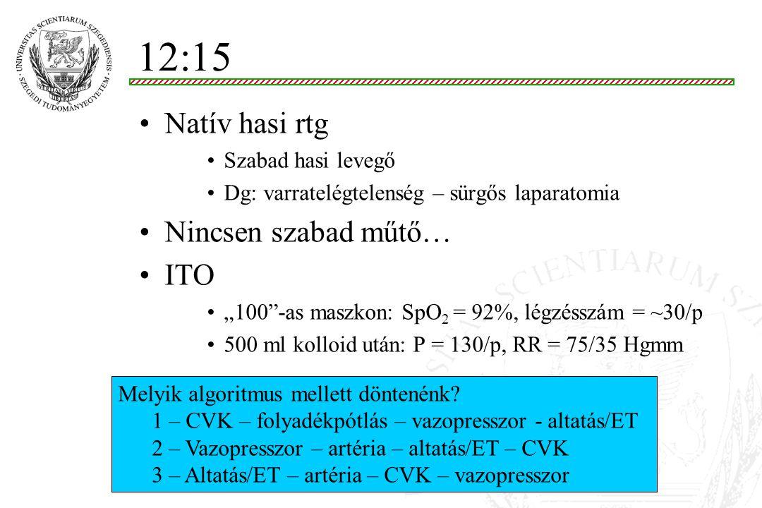 """Az adósság… DO 2 = (SV P) (Hb 1.39 SaO 2 +0.003 PaO 2 ) ~ 800ml/p (SaO 2 =88%) VO 2 = CO (CaO 2 - CvO 2 ) ~ 400 ml/p (ScvO 2 ~50%) Lehetséges magyarázat: –Akut bal kamra elégtelenség –Csökkent pumpa funkció (CO) – tüdőödéma (hipoxia) –Magas szisztémás vaszkuláris rezisztencia (SVR) Teendő –O 2 + SpO 2 monitorozás –SVR (""""afterload ) csökkentés: vazodilatáror (nitrát spray) –Fájdalomcsillapítás/szedálás: morfin i.v."""