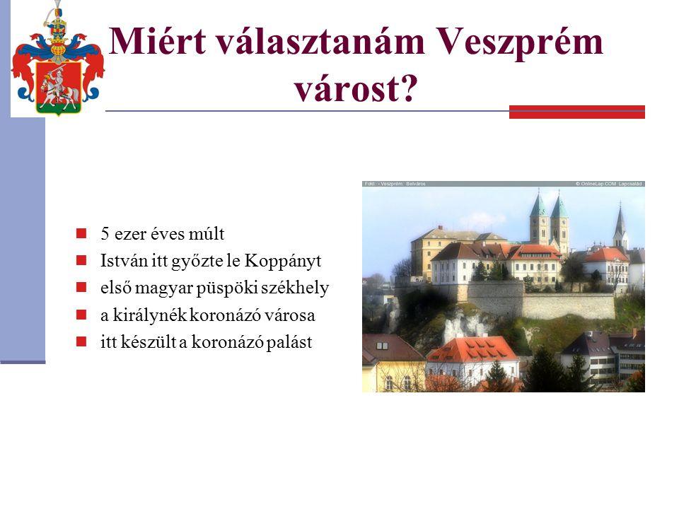 Miért választanám Veszprém várost? 5 ezer éves múlt István itt győzte le Koppányt első magyar püspöki székhely a királynék koronázó városa itt készült