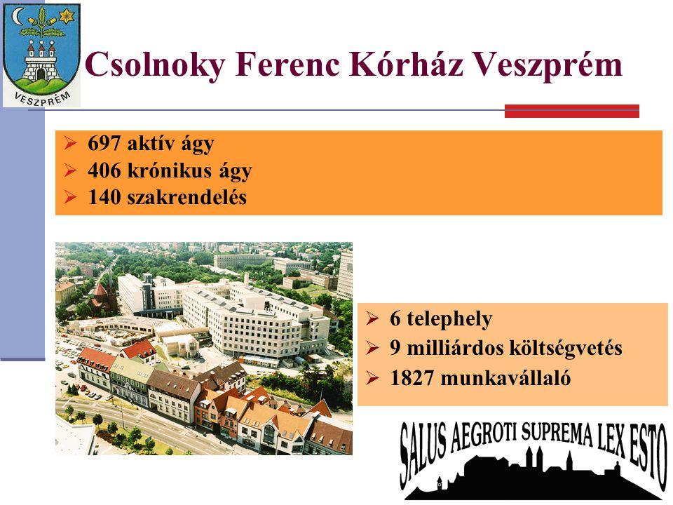 Csolnoky Ferenc Kórház Veszprém  697 aktív ágy  406 krónikus ágy  140 szakrendelés  6 telephely  9 milliárdos költségvetés  1827 munkavállaló