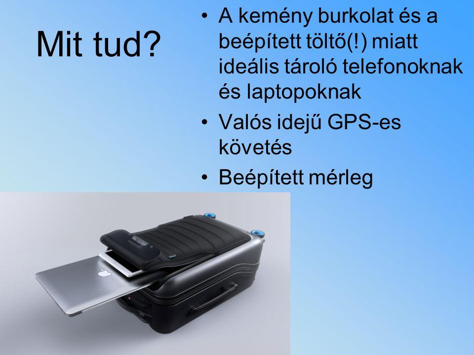 A kemény burkolat és a beépített töltő(!) miatt ideális tároló telefonoknak és laptopoknak Valós idejű GPS-es követés Beépített mérleg Mit tud