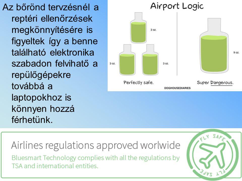 Az bőrönd tervzésnél a reptéri ellenőrzések megkönnyítésére is figyeltek így a benne található elektronika szabadon felvihatő a repülőgépekre továbbá
