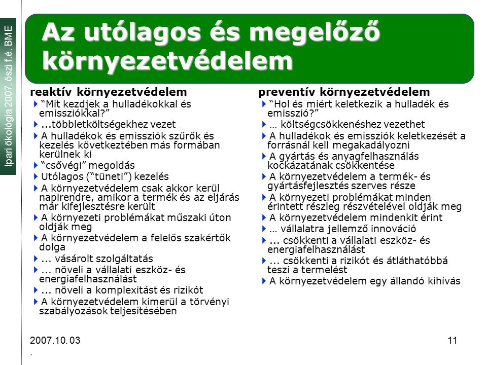 Ipari ökológia 2007.őszi f.é. BME 2007.10. 03.