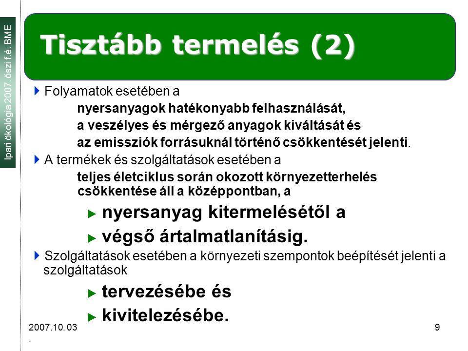 Ipari ökológia 2007. őszi f.é. BME 2007.10. 03.