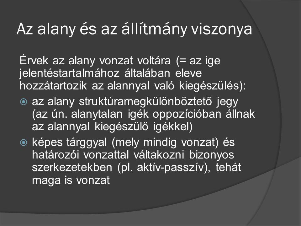 Az alany és az állítmány viszonya Érvek az alany vonzat voltára (= az ige jelentéstartalmához általában eleve hozzátartozik az alannyal való kiegészül