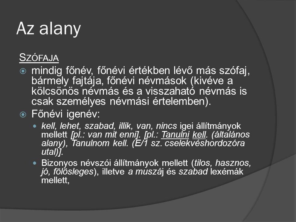 Az alany S ZÓFAJA  mindig főnév, főnévi értékben lévő más szófaj, bármely fajtája, főnévi névmások (kivéve a kölcsönös névmás és a visszaható névmás is csak személyes névmási értelemben).