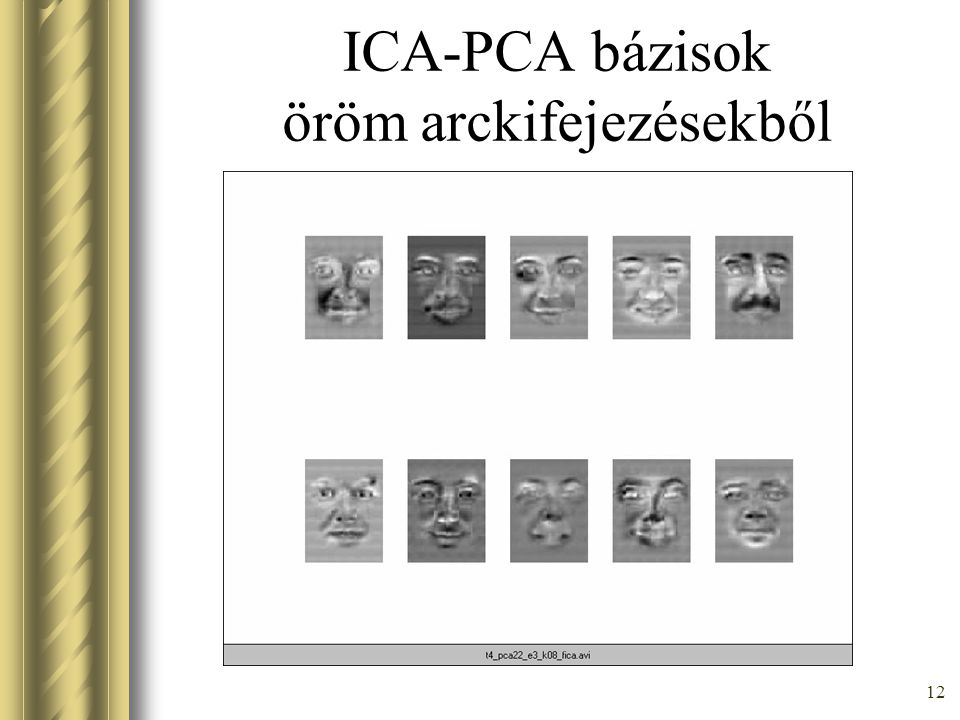 11 PCA vs ICA, Mixture of Probabilistic PCA PCA ICA MPPCA