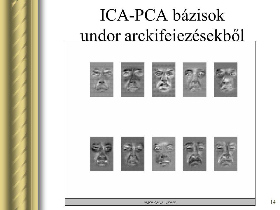 13 ICA-PCA bázisok megelpetés arckifejezésekből