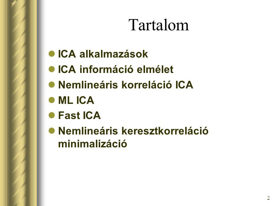 2 Tartalom ICA alkalmazások ICA információ elmélet Nemlineáris korreláció ICA ML ICA Fast ICA Nemlineáris keresztkorreláció minimalizáció