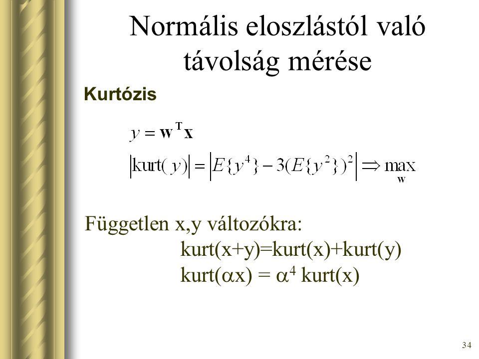 33 Cél: Normális eloszlástól minél távolabb kerülni Kétféle módon lehet –Gauss-nál élesebben tart nullához 'sub-gaussian' –Gauss-nál lassabban tart nullához (nagy eltérések valószínűsége viszonylag nagy) 'super-gaussian'