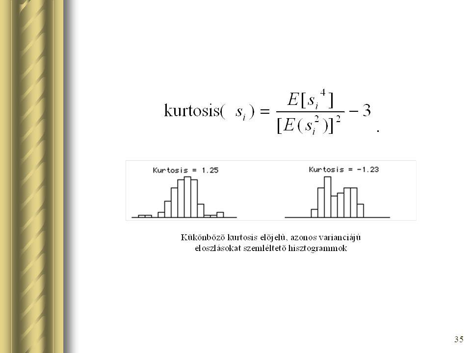34 Normális eloszlástól való távolság mérése Kurtózis Független x,y változókra: kurt(x+y)=kurt(x)+kurt(y) kurt(  x) =  4 kurt(x)