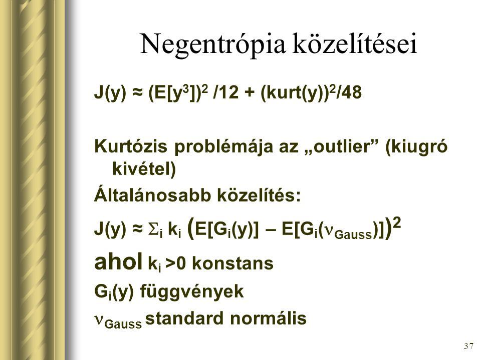 36 Negentrópia Entrópia: H(y) = -  f(y) log f(y) dy Negentrópia: J(y) = H(y Gauss ) – H(y)  0 azonos varianciájú eloszlásokra A feladat tehát: Állítás: J(y) invariáns lineáris transzformációkra nézve J(y) = J(Ay)