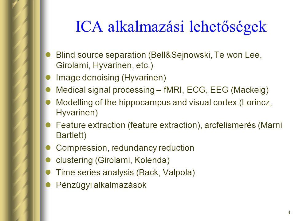 4 ICA alkalmazási lehetőségek Blind source separation (Bell&Sejnowski, Te won Lee, Girolami, Hyvarinen, etc.) Image denoising (Hyvarinen) Medical signal processing – fMRI, ECG, EEG (Mackeig) Modelling of the hippocampus and visual cortex (Lorincz, Hyvarinen) Feature extraction (feature extraction), arcfelismerés (Marni Bartlett) Compression, redundancy reduction clustering (Girolami, Kolenda) Time series analysis (Back, Valpola) Pénzügyi alkalmazások