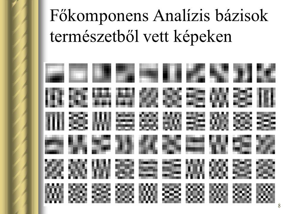 18 Higher order moment and cumulants [Comon 94, Hyvarinen 97] Nonlinear PCA [Karhunen 94; Oja 97] Maximalization of information transfer [Bell & Sejnowski 95; Amari 96; Lee 97-98] Maximum likelihood [MacKay 96; Pearlmutter & Parra 96; Cardoso 97] Negentropy maximalization [Girolami & Fyfe 97] Nemlineáris kersztkorreláció minimalizáció [Jutten-Herault, Cardoso] Különböző ICA megközelítések