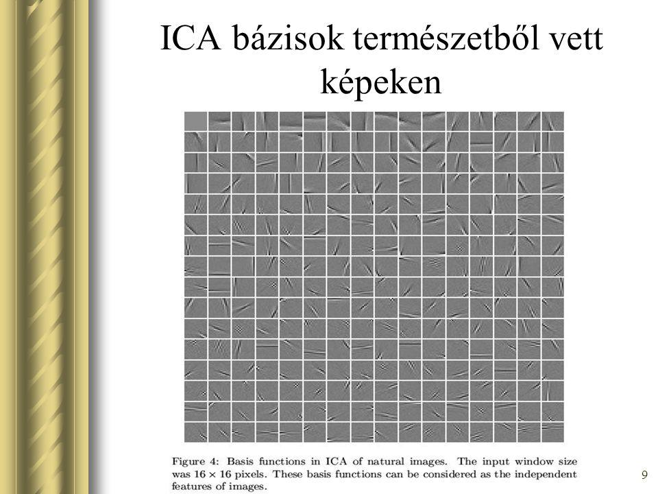 49 Fast ICA algoritmus Közelítés: E[xx T G''(w T x)] ≈ E[xx T ]E[G''(w T x)] =E[G''(w T x)] Oldjuk meg az előbbi feladatot Newton módszerrel: w + = w – ( E[xG'(w T x)] –  w )( E[G''(w T x)] –  ) -1 Ez tovább egyszerüsíthető: w + = E[xG'(w T x)] – E[G''(w T x)]w w +  w + / ||w + ||