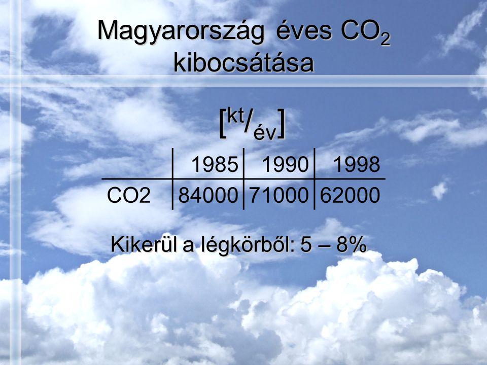 Magyarország éves CO 2 kibocsátása 198519901998 CO2840007100062000 [ kt / év ] Kikerül a légkörből: 5 – 8%