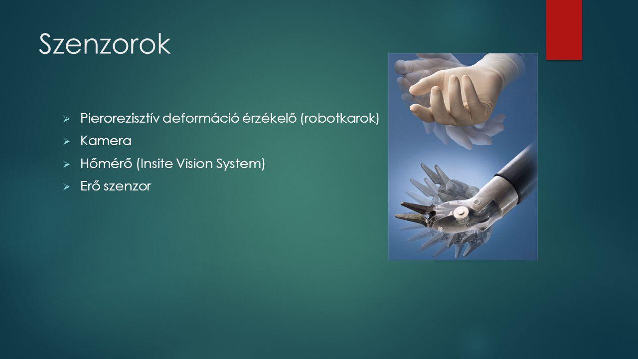 Szenzorok  Pierorezisztív deformáció érzékelő (robotkarok)  Kamera  Hőmérő (Insite Vision System)  Erő szenzor