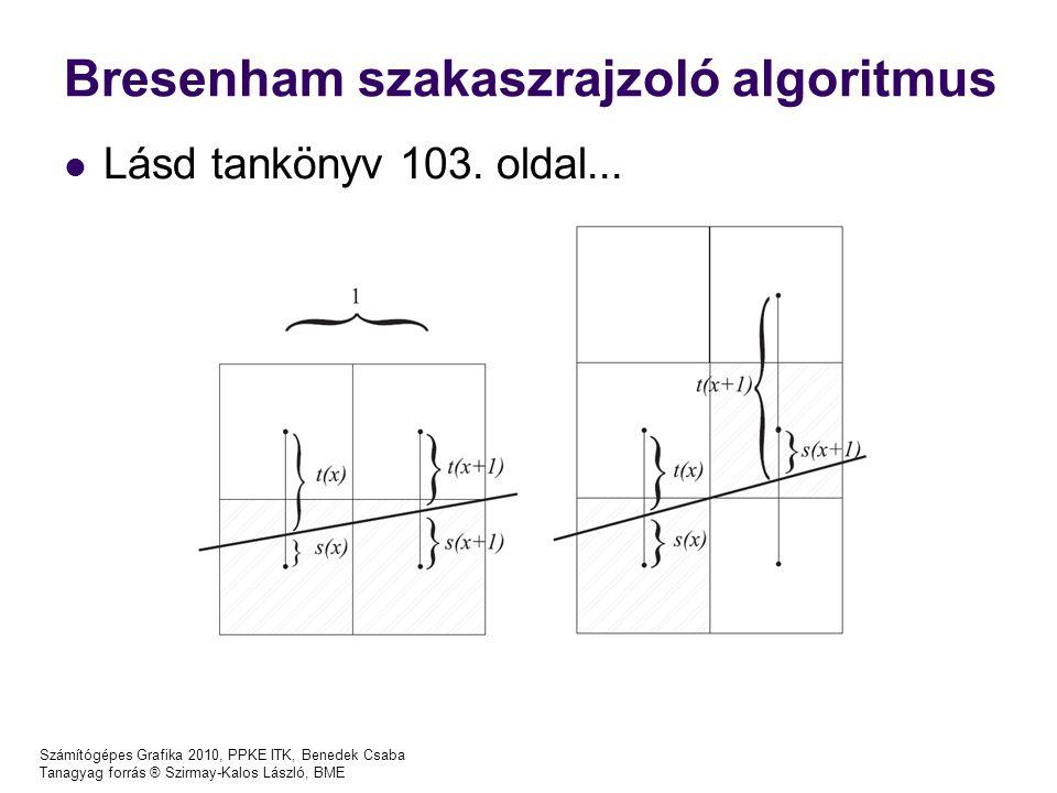 Számítógépes Grafika 2010, PPKE ITK, Benedek Csaba Tanagyag forrás ® Szirmay-Kalos László, BME Bresenham szakaszrajzoló algoritmus Lásd tankönyv 103.