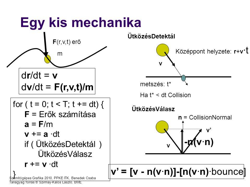 Számítógépes Grafika 2010, PPKE ITK, Benedek Csaba Tanagyag forrás ® Szirmay-Kalos László, BME Egy kis mechanika F(r,v,t) erő m for ( t = 0; t < T; t += dt) { F = Erők számítása a = F/m v += a ·dt if ( ÜtközésDetektál ) ÜtközésVálasz r += v ·dt } v n = CollisionNormal v' v' = [v - n(v·n)]-[n(v·n)·bounce] v Középpont helyzete: r+v ·t metszés: t* Ha t* < dt Collision ÜtközésDetektál ÜtközésVálasz dr/dt = v dv/dt = F(r,v,t)/m -n(v·n)