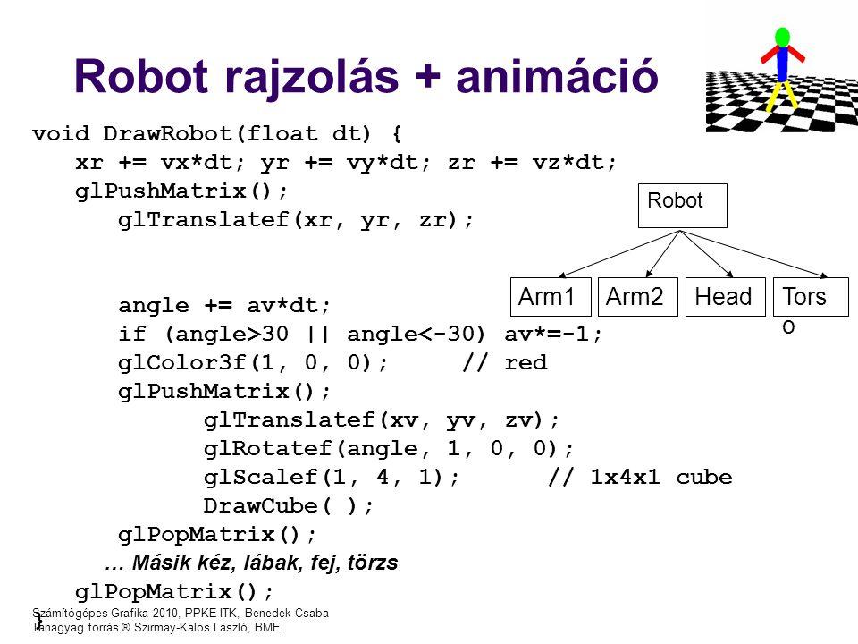 Számítógépes Grafika 2010, PPKE ITK, Benedek Csaba Tanagyag forrás ® Szirmay-Kalos László, BME Robot rajzolás + animáció void DrawRobot(float dt) { xr += vx*dt; yr += vy*dt; zr += vz*dt; glPushMatrix(); glTranslatef(xr, yr, zr); angle += av*dt; if (angle>30 || angle<-30) av*=-1; glColor3f(1, 0, 0);// red glPushMatrix(); glTranslatef(xv, yv, zv); glRotatef(angle, 1, 0, 0); glScalef(1, 4, 1);// 1x4x1 cube DrawCube( ); glPopMatrix(); … Másik kéz, lábak, fej, törzs glPopMatrix(); } Robot Arm1Arm2HeadTors o