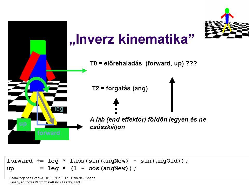 """Számítógépes Grafika 2010, PPKE ITK, Benedek Csaba Tanagyag forrás ® Szirmay-Kalos László, BME """"Inverz kinematika T0 = előrehaladás (forward, up) ??."""