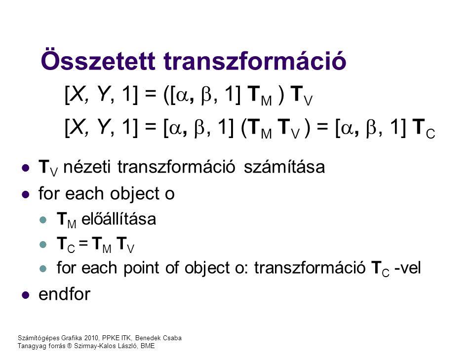 Számítógépes Grafika 2010, PPKE ITK, Benedek Csaba Tanagyag forrás ® Szirmay-Kalos László, BME Összetett transzformáció T V nézeti transzformáció számítása for each object o T M előállítása T C = T M T V for each point of object o: transzformáció T C -vel endfor [X, Y, 1] = ([ , , 1] T M ) T V [X, Y, 1] = [ , , 1] (T M T V ) = [ , , 1] T C
