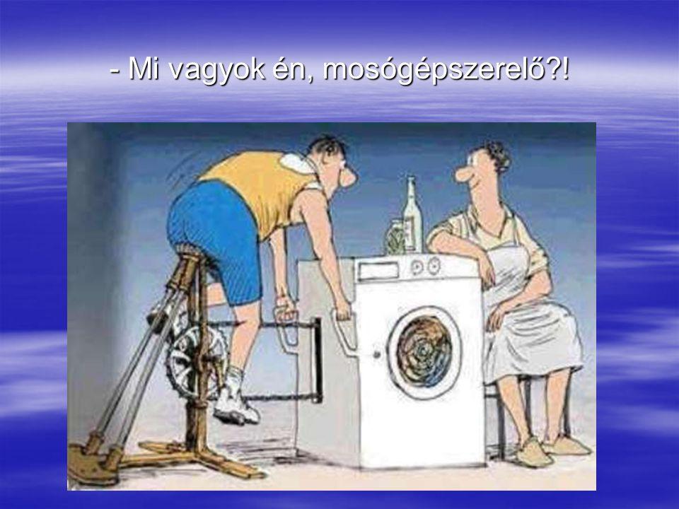 Egy napra rá azonban, mikor a férj hazajön, látja, hogy a polc egyben van, a mosógép és a tévé működik...