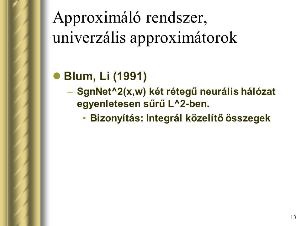 13 Approximáló rendszer, univerzális approximátorok Blum, Li (1991) –SgnNet^2(x,w) két rétegű neurális hálózat egyenletesen sűrű L^2-ben. Bizonyítás: