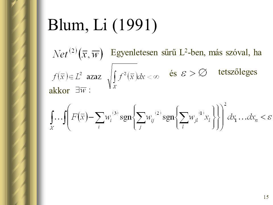 15 Blum, Li (1991) Egyenletesen sűrű L 2 -ben, más szóval, ha és tetszőleges akkor