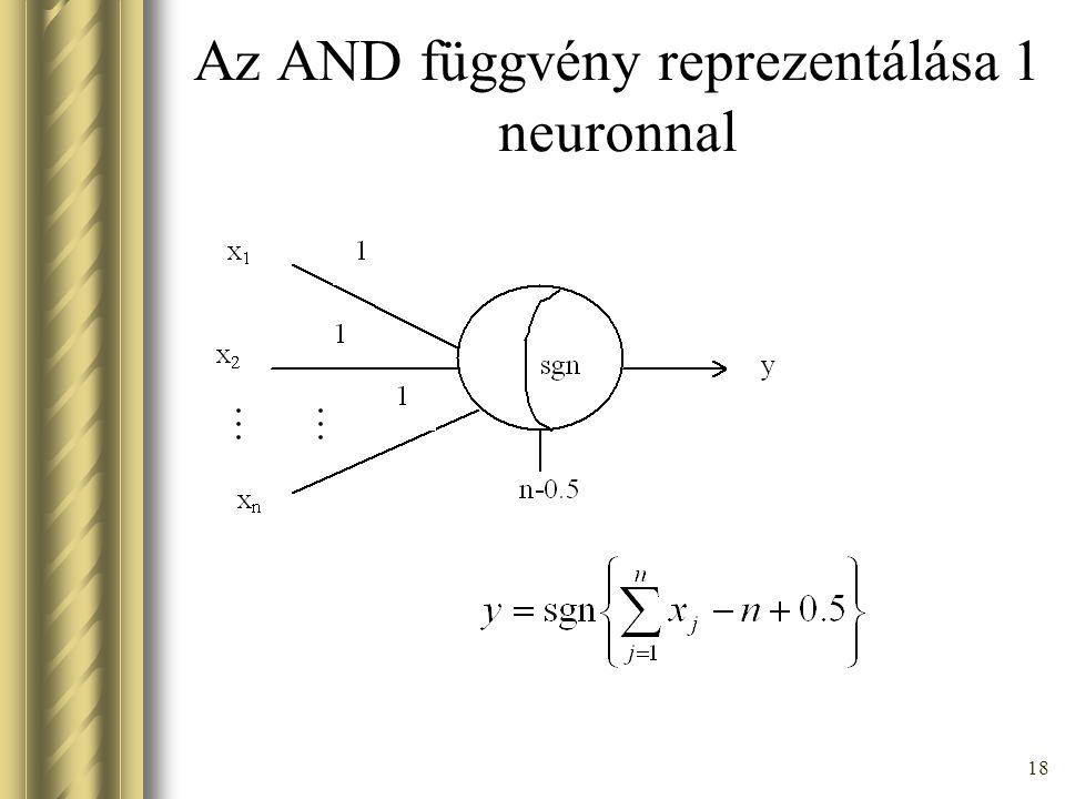 18 Az AND függvény reprezentálása 1 neuronnal