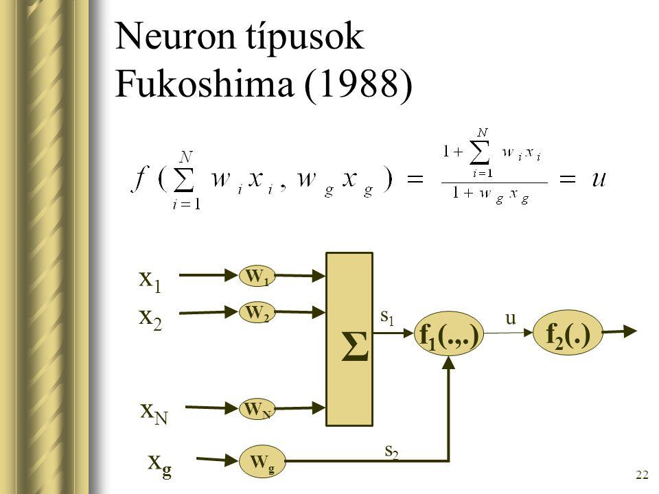 22 Neuron típusok Fukoshima (1988) f 1 (.,.) W1W1 W2W2 WNWN Σ x1x1 x2x2 xNxN WgWg xgxg f 2 (.) s1s1 s2s2 u