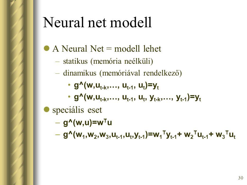30 Neural net modell A Neural Net = modell lehet –statikus (memória neélküli) –dinamikus (memóriával rendelkező) g^(w,u t-k,…, u t-1, u t )=y t g^(w,u