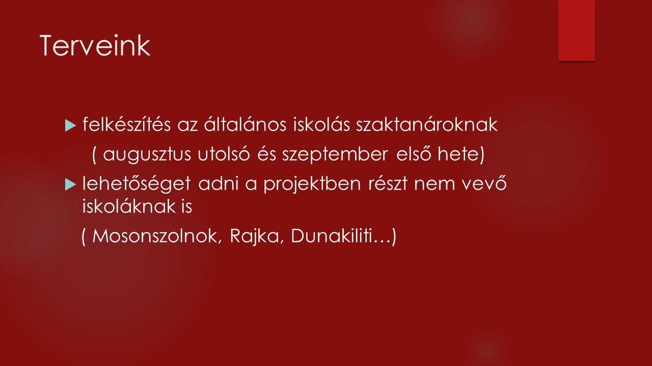 Terveink  felkészítés az általános iskolás szaktanároknak ( augusztus utolsó és szeptember első hete)  lehetőséget adni a projektben részt nem vevő iskoláknak is ( Mosonszolnok, Rajka, Dunakiliti…)