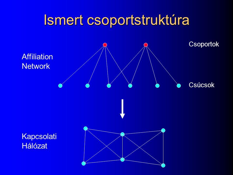 Affiliation Network Kapcsolati Hálózat Csoportok Csúcsok Ismert csoportstruktúra