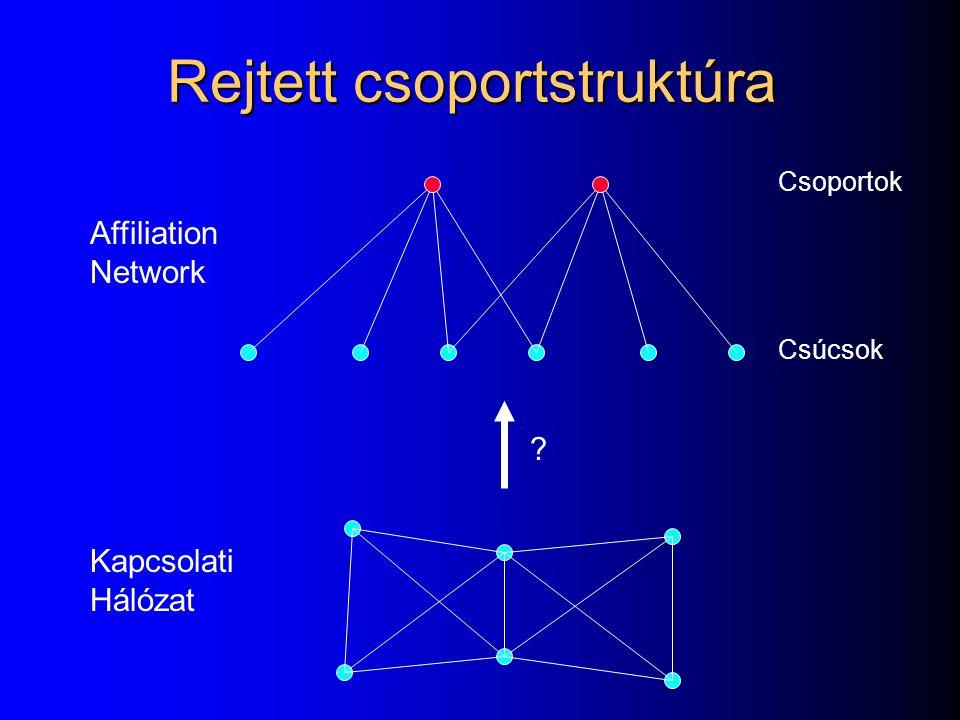 Affiliation Network Kapcsolati Hálózat Csoportok Csúcsok ? Rejtett csoportstruktúra