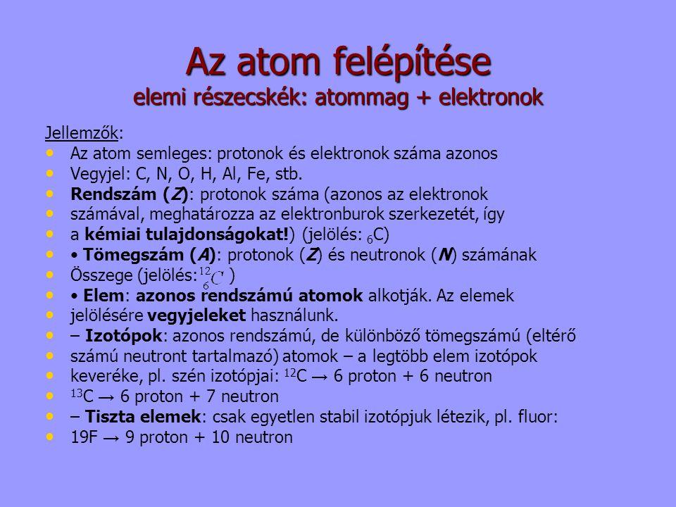 Az atom felépítése elemi részecskék: atommag + elektronok Jellemzők: Az atom semleges: protonok és elektronok száma azonos Vegyjel: C, N, O, H, Al, Fe
