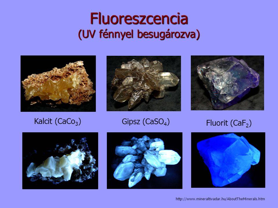 Fluoreszcencia (UV fénnyel besugározva) Kalcit (CaCo 3 ) Gipsz (CaSO 4 ) Fluorit (CaF 2 ) http://www.mineraltivadar.hu/AboutTheMinerals.htm